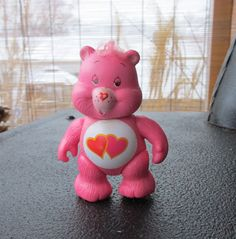 Loves a Lot Bear Poseable Figure Vintage Pink Care Bear Hearts on Belly Retro 1980's Toy by LetsGoRetro1973 on Etsy