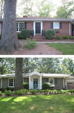 Before & After: Painted Brick Ranch Style Home - Brick, Sherwin Williams Backdrop 7025; Trim, Sherwin Williams Extra White 7006; Shutters, Sherwin Williams Black Fox 7020; Front Door, Aqua (Custom Mix).