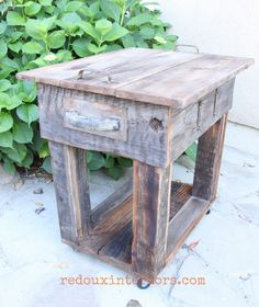 Transform an old table using upcycled barn wood as an overlay.  Use CeCe Caldwell's all natural stain to darken and add patina.  Modern Masters colorants to further add depth to old hardware. REDOUXINTERIORS.COM FACEBOOK: REDOUX #redouxinteriors #upcycledwoodprojects #cececaldwells