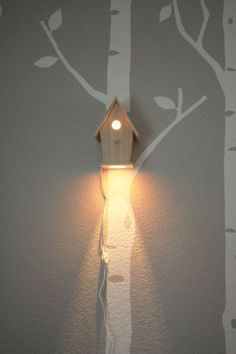 Peek-a-Boo Modern Birdhouse Lamp for Baby Nursery Wall Hanging Night Light