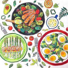 """""""완성!!! 샐러드접시♥♥♥♥ 아직 반대쪽 접시가 남아있지만... #컬러링북 #컬러링앤더푸드 #coloringbook #coloringandthefood #salad #샐러드 #salmon #avocado #asparagus # shrimp #egg #프리즈마색연필…"""""""