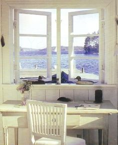 Do You Dare Position A #Desk Next To An #Office #Window? Is It Too Distracting? You Be The Judge ➤ http://CARLAASTON.com/designed/position-desk-aside-home-office-window