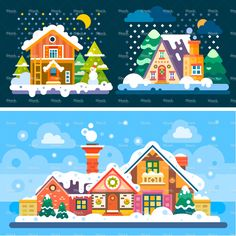 Nice winter day and night landscapes stock vector art 78861505 - iStock