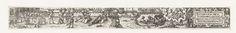 Anonymous | Mei, Anonymous, 1584 | Uit een serie van twaalf prenten, de verbeelding van de maand April. Links een groep mensen aan het eten aan een tafel in de openlucht, in het midden musicerende mensen, twee verliefde paartjes, en mensen in bootjes op het water. Rechts het sterrenbeeld tweelingen en een cartouche met de tekst: Ich bin der Mey, schön wolgestalt, Bring Freud und Wonne mannigfalt.