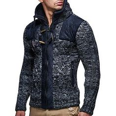 Shop Leif Nelson Men Cardigan Jacket Hood Free delivery and returns on eligible orders. Knit Jacket, Sweater Jacket, Men Sweater, Mens Fashion Sweaters, Casual Sweaters, Leif Nelson, Embroidered Sweatshirts, Well Dressed Men, Mens Sweatshirts