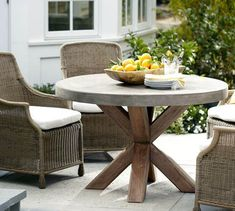Abbott Concrete Top Round Fixed Dining Table for kitchen table? Concrete Furniture, Outdoor Dining Furniture, Outdoor Tables, Outdoor Decor, Patio Tables, Wicker Furniture, Luxury Furniture, Furniture Ideas, Indoor Outdoor