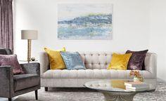 Bespoke Sofa London- June sofa using Romo fabric. Sofa Design, Interior Design, Romo Fabrics, Upholstery Fabrics, Bespoke Sofas, Colourful Cushions, Cushion Fabric, Living Room Sofa, Living Rooms