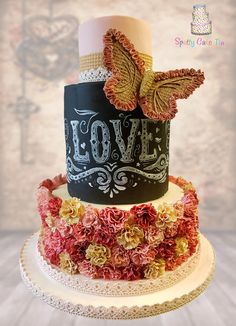Vintage butterfly Love wedding cake by Shell at Spotty Cake Tin