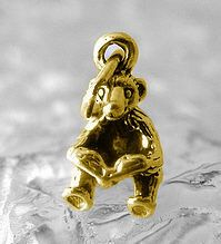 Bear reading book kids story time Gold plated over sterling silver charm Jewelry