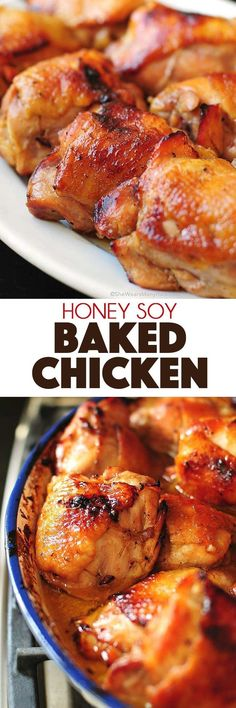 A super easy chicken recipe that will become a family favorite. Honey Soy Baked … A super easy chicken recipe that will become a family favorite. Honey Soy Baked Chicken Recipe would be delicious cooked on the grill as well! Baked Chicken Recipes, Turkey Recipes, Meat Recipes, Yummy Recipes, Cooking Recipes, Healthy Recipes, Zoodle Recipes, Dinner Recipes, Grilling Recipes