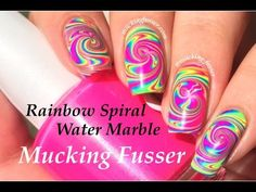Rainbow Spiral Water Marble Nail Art Tutorial - YouTube