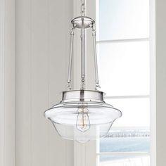 "Possini Euro Schoolhouse 13""W Brushed Steel Pendant - #4V437   Lamps Plus"