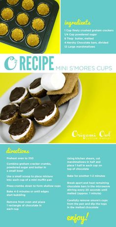 O2 Recipe: Mini S'mores Cups Host a Smores themed Origami Owl Jewelry bar party with me! www.thesparklingowl.com