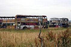 abandoned buses in Lancashire, England