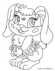 Kawaii rabbit coloring page. Cute and amazing farm animals coloring page for kids. More coloring sheets on hellokids.com