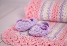 Crochet Baby Blanket + Baby booties Baby set Baby Blanket Pink & Lilac Baby shower gift Blanket for girl Bunny travel stroller pram Newborn