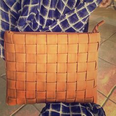 Tan woven clutch Soft faux leather, inside zipper, great size!!!! Merona Bags Clutches & Wristlets
