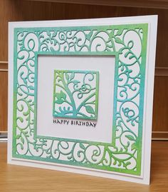 handmade birthday card using Sue Wilson Swirly Vine die ...luv how she sponged pastel blue and green onto the die cut frame and square ... from Jackies Craft Creations