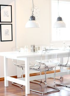 cute office space... lucite chair love!