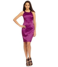 Brand/Designer: Jessica Simpson Material: Polyester /Satin /Spandex Dress Silhouette: Bodycon Shoulder: Halter Sleeveless Closure/Back: Back-Zipper Available Colors: Purple