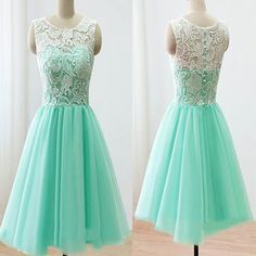 2016 mint lace lovely simple elegant homecoming prom bridesmaid dress The mint lace cute homecoming dresses are fully lined, 8 bones in the bodice, chest pad in the bust, lace up back or zipper back a