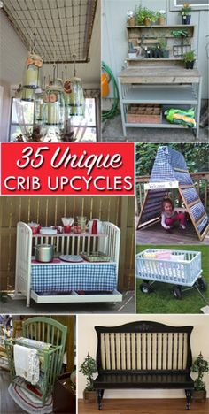 35 Ways to Repurpose Cribs (and Parts of Cribs) Easy DIY upcycling projects for both the crib itself and the individual pieces (like the sides and srpings!) - June 22 2019 at Old Baby Cribs, Old Cribs, Baby Beds, Refurbished Furniture, Repurposed Furniture, Diy Furniture, Rustic Furniture, Vintage Furniture, Distressed Furniture