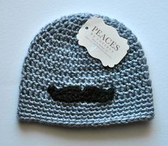 Black Mustache Gray Beanie Hat for Baby or Child - Peaces by Cortney