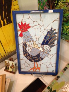 Rooster mosaic tray, Barbados