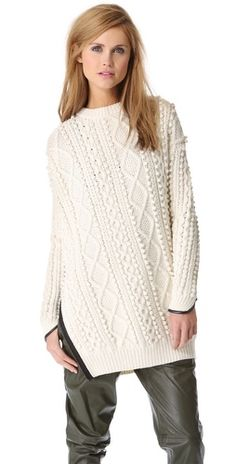 3.1 Phillip Lim Zip Oversized Pullover with Faux Trim | SHOPBOP
