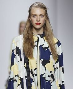 Abstract florals take on a camo appearance at the @topshop #LFW #SS15 show.