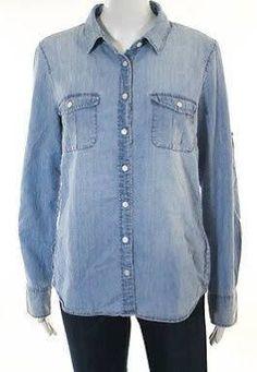 J Crew Blue Cotton Denim Long Sleeve Button Down Casual Top Size 6