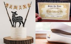 Fun and unique Harry Potter wedding ideas. Beautiful Harry Potter wedding cake for a unique wedding theme. Featured on www.guidesforbrides.co.uk Sabe The Date, Harry Potter Wedding Cakes, Wedding Inspiration, Wedding Ideas, Unique Weddings, Dream Wedding, Place Card Holders, Invitations, Fun