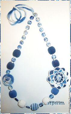 Слинго-бусы гжель Russian Folk, Beaded Necklace, Painting, Jewelry, Fashion, Beaded Collar, Moda, Jewlery, Bijoux