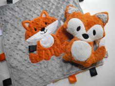 Personalized Baby Blanket, Woodland Fox Tag,  Minky Baby Blanket, Sensory Ribbons, Baby Lovey, Custom Blanket, Made to Order