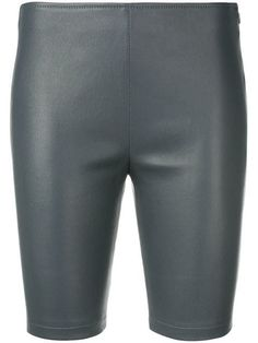 Grey leather leather legging-shorts from Manokhi featuring a low waist, a side zip fastening and a slim fit. Cycling Shorts, Leather Leggings, Grey Leather, Short Outfits, Size Clothing, Women Wear, Slim, Clothes For Women, Fashion Design