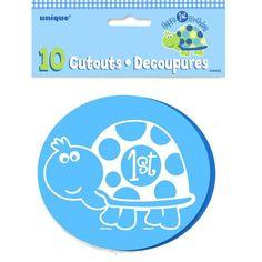 Turtle 1st Birthday Mini Cutouts 10ct