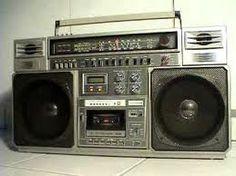 Ghetto blaster.  Yes I would walk around the neighborhood with my music blaring. :)