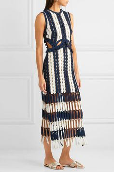 Self-Portrait - Striped Crochet-knit Midi Dress - Navy