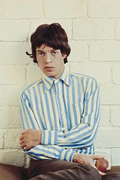 never really found Mick Jagger attractive but love his pastel Stripe oxford shirt : )