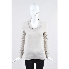 Pre-Owned Balenciaga Beige Pastel Heathered Cashmere Cotton Scoop Neck... (£105) ❤ liked on Polyvore featuring tops, sweaters, neutral, white cashmere sweater, cashmere sweater, ribbed sweater, fuzzy sweaters and pullover sweaters