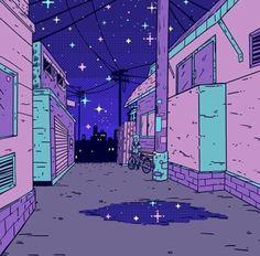 Pastel grunge back alley