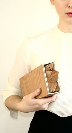wood and white leather clutch by NATIMALdesigns, $368.00