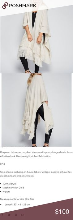 FREE PEOPLE Solstice Ribbed Fringe Kimono This is an amazing ivory throw over that you can wrap around any outfit! So warm and cozy for any chilly day! Perfect for fall and winter! Free People Jackets & Coats Capes
