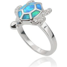Journee Collection Sterling Silver Opal Sea Turtle Ring (€42) ❤ liked on Polyvore featuring jewelry, rings, silver, turtle ring, sterling silver band rings, wide sterling silver rings, wide-band rings and blue ring