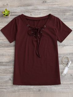 SHARE & Get it FREE | Lace Up Layering T-Shirt - Wine RedFor Fashion Lovers only:80,000+ Items • New Arrivals Daily Join Zaful: Get YOUR $50 NOW!