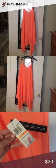 Sun dress Bright orange My Michelle Dresses Midi