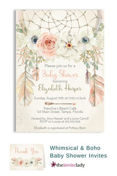 Throw a Bohemian Baby Shower with whimsical & botanical invite ideas. Invite guests to your baby shower with this whimsical botanical themed invitation featuring flowers and feathers backed by a lovely dream-catcher.