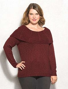 Plus Size Cable Knit Foldover Neck Sweater