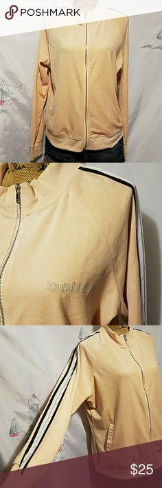 "bebe velour sweat jacket. Bebe jacket.size extra large.Color peach.Shoulder to bottom 26"" long.armpit to armpit 24"" across. bebe Jackets & Coats"