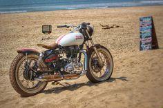 Royal Enfield beach tracker by Custom Motorcycles Vintage Bikes, Vintage Motorcycles, Custom Motorcycles, Custom Bikes, Royal Enfield Stickers, Royal Enfield Classic 350cc, Royal Enfield Wallpapers, Bullet Bike Royal Enfield, Royal Enfield India